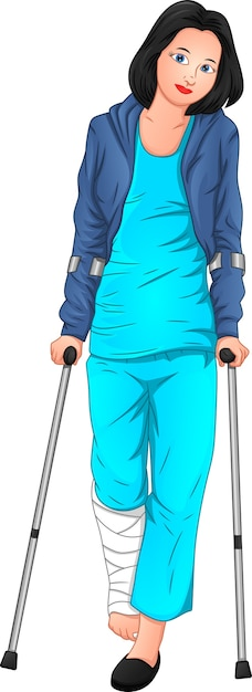 Beautiful woman is sick and using crutches Premium Vector