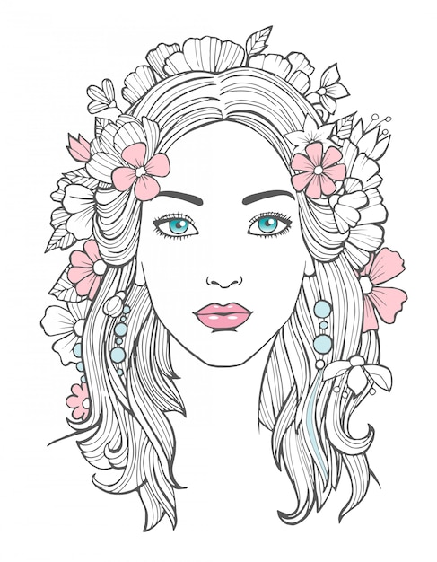 Beautiful woman portrait. mysterious drawing beauty young female with flowers in hair  art Premium Vector