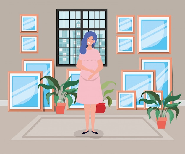Beautiful woman pregnancy in house corridor scene Free Vector