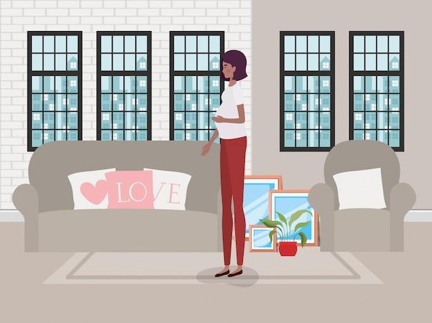 Beautiful woman pregnancy in the livingroom scene Free Vector