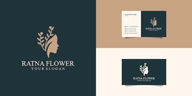 라인 아트 스타일 로고와 명함 디자인으로 아름 다운 여자의 얼굴 꽃 스타. 뷰티 살롱, 마사지에 대한 추상 디자인 컨셉 프리미엄 벡터