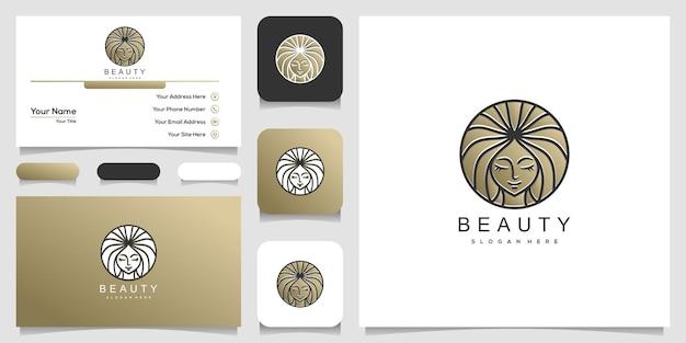 美しい女性の顔のロゴと名刺のデザイン Premiumベクター