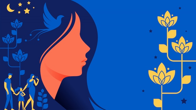 Beautiful woman silhouette image for business card Premium Vector