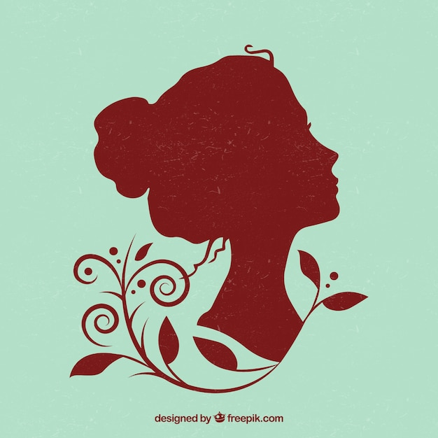 Beautiful woman silhouette Free Vector