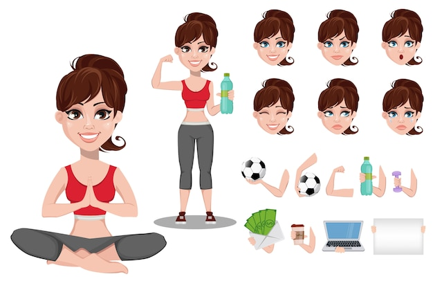 Beautiful woman in sport outfit Premium Vector
