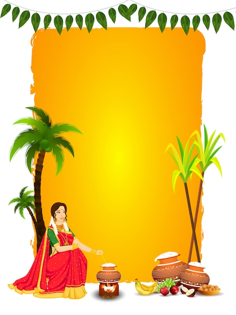 Beautiful woman stirring rice in mud pot with fruit, indian sweet (laddu), sugarcane and coconut tree on yellow and white  for happy pongal. Premium Vector