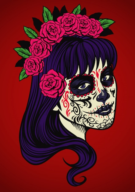 Beautiful woman wearing sugar skull make up Premium Vector