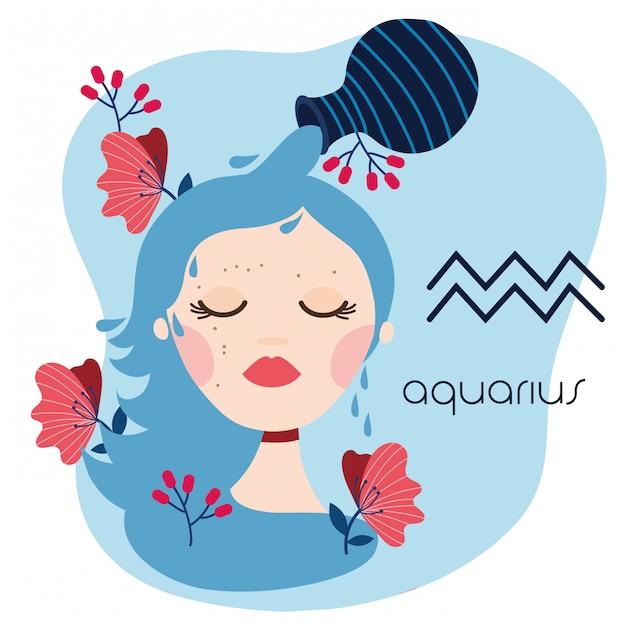 Beautiful woman with aquarius zodiac sign illustration Premium Vector