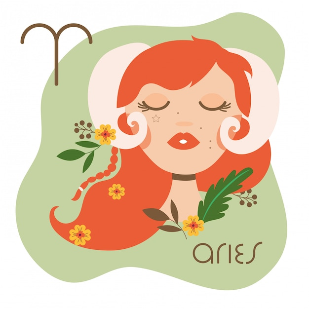 Beautiful woman with aries zodiac sign illustration Premium Vector