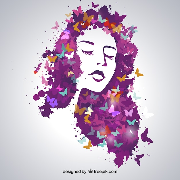 Beautiful woman with butterflies Free Vector