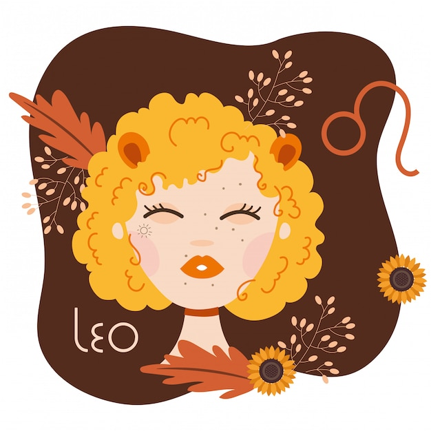 Beautiful woman with leo zodiac sign illustration Premium Vector