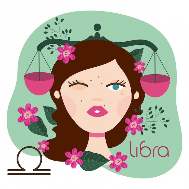 Beautiful woman with libra zodiac sign illustration Premium Vector
