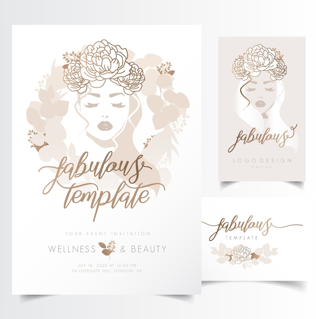 Beautiful woman with long hair and leaf wreath for event invitation template Premium Vector