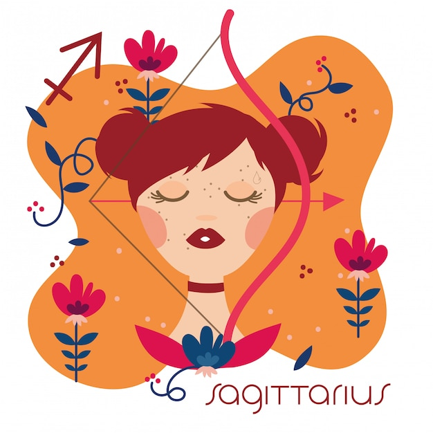 Beautiful woman with sagittarius zodiac sign illustration Premium Vector