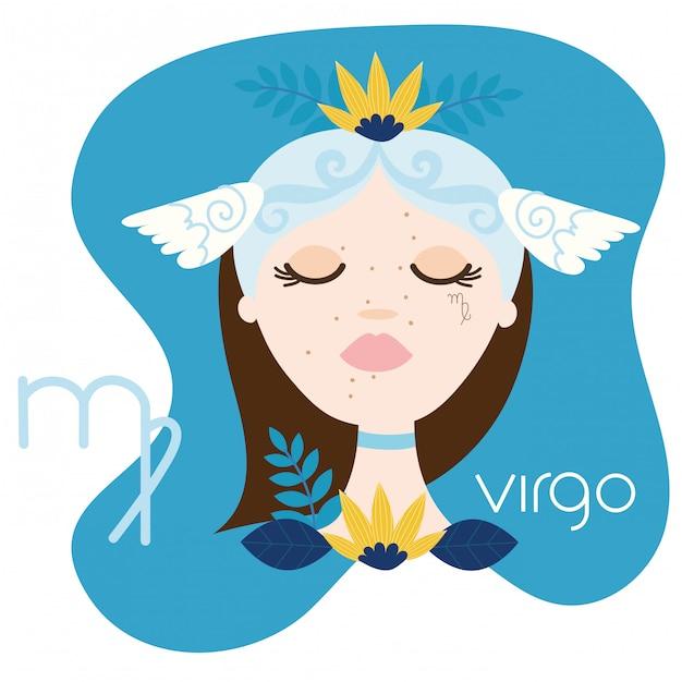 Beautiful woman with virgo zodiac sign illustration Premium Vector