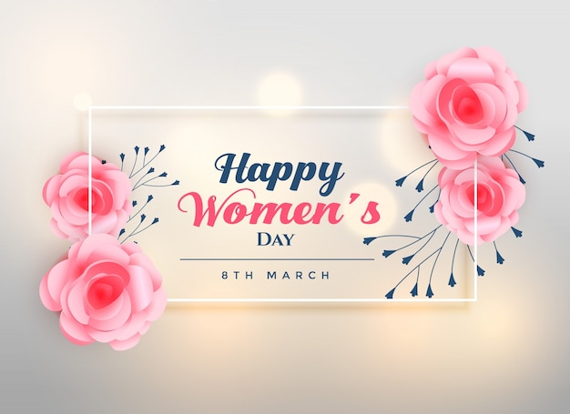 beautiful women's day lovely rose background Free Vector