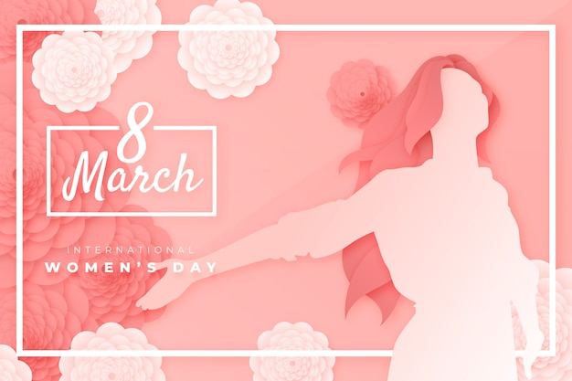 Beautiful women's day representation in paper style Free Vector