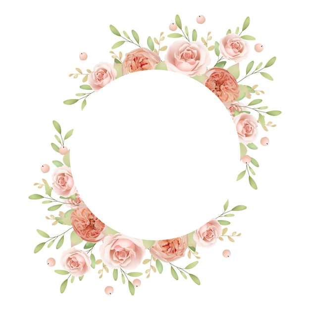 Beautiful wreath frame with floral garden roses Premium Vector
