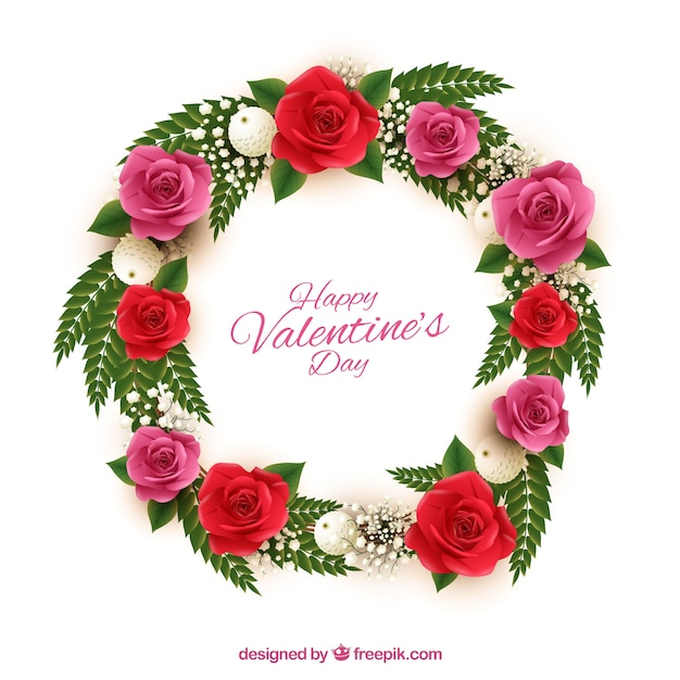 Beautiful wreath with red and pink flowers for\ valentine\'s day