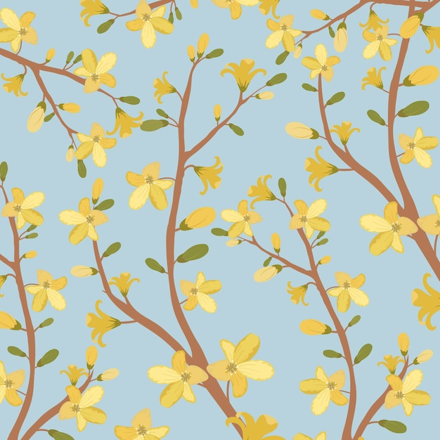 Beautiful yellow flower pattern. Premium Vector