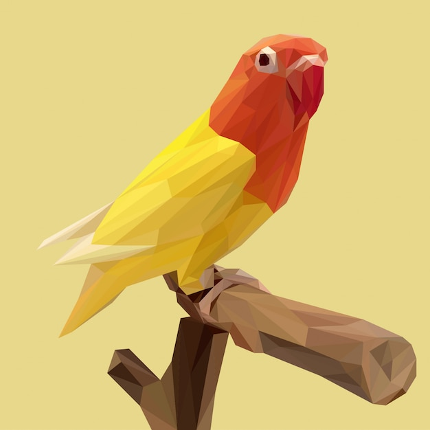 Beautiful yellow lovebird with lowpoly style Premium Vector
