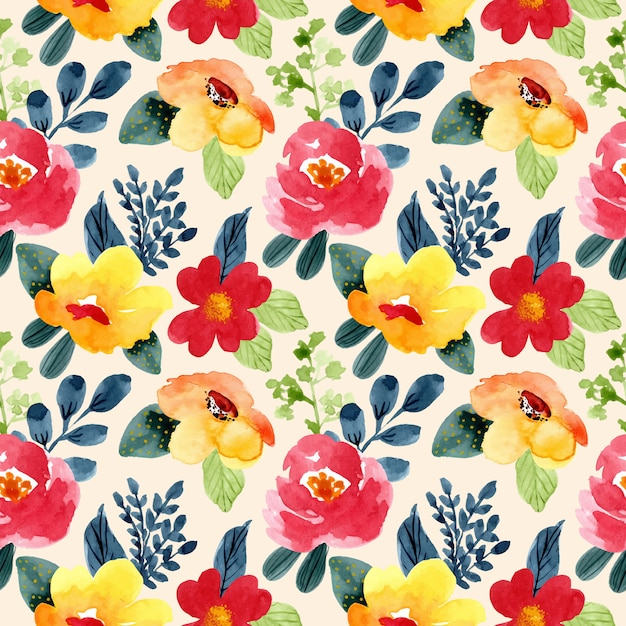 Beautiful yellow red flower watercolor seamless pattern Premium Vector