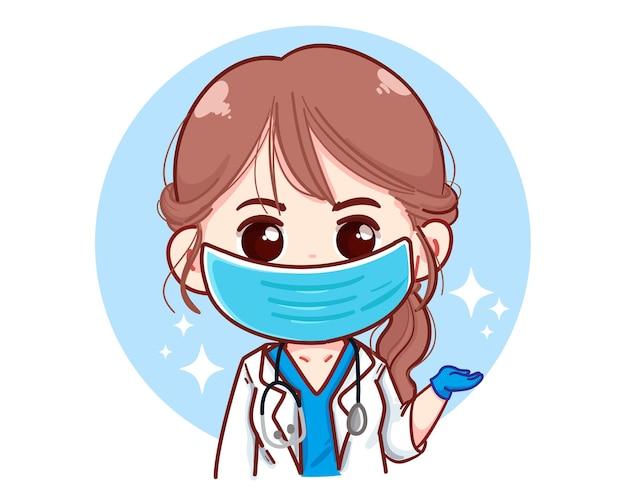 Красивая молодая женщина-врач, представляя что-то карикатурную иллюстрацию Бесплатные векторы