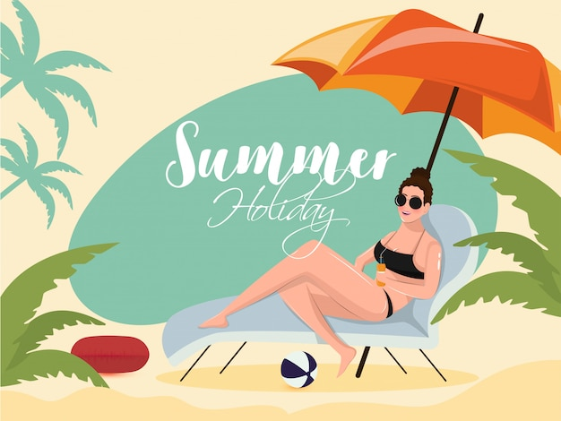 Beautiful young girl relaxing on beach chair for summer holiday Premium Vector