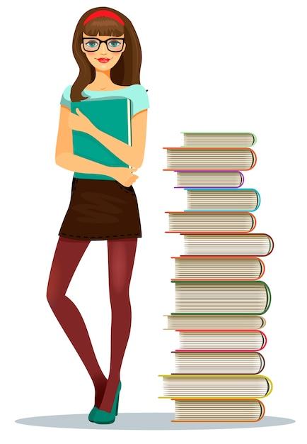 積み重ねられた本の横に立っているメモのファイルをつかんで眼鏡をかけている美しい若い女の子の学生 無料ベクター