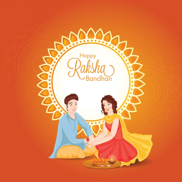 Beautiful young girl tying rakhi on her brother wrist with worship plate on the occasion of happy raksha bandhan. Premium Vector