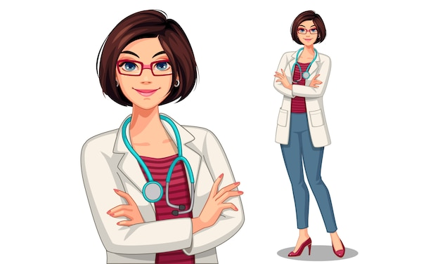 Beautiful young lady doctor vector illustration Premium Vector
