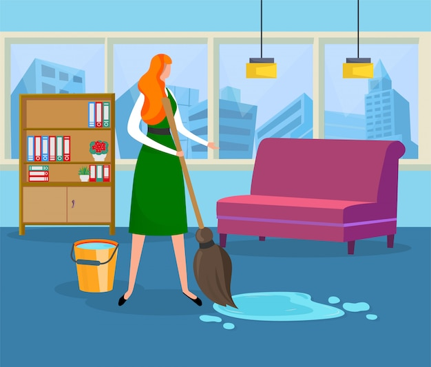 Beautiful young woman doing wet cleaning at home. Premium Vector