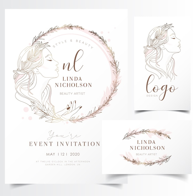 Beautiful young woman in flower wreath for event invitation template Premium Vector