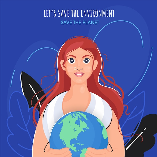 環境と惑星の概念を保存するための青色の背景に葉を持つ地球を保持している美しい若い女性。 Premiumベクター