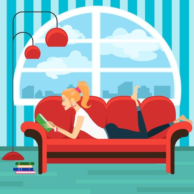 Красивая книга чтения молодой женщины на софе. леди и интерьер дома, лежащая сексуальная девушка, мудрость и расслабление Бесплатные векторы