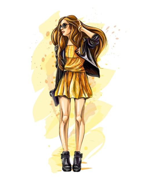 Beautiful young woman with bag. hand drawn fashion girl. fashion model posing. sketch.  illustration. Premium Vector