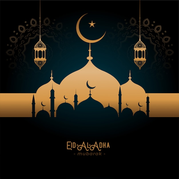 Beautifulgolden mosque and lamps eid-al-adha greeting Free Vector