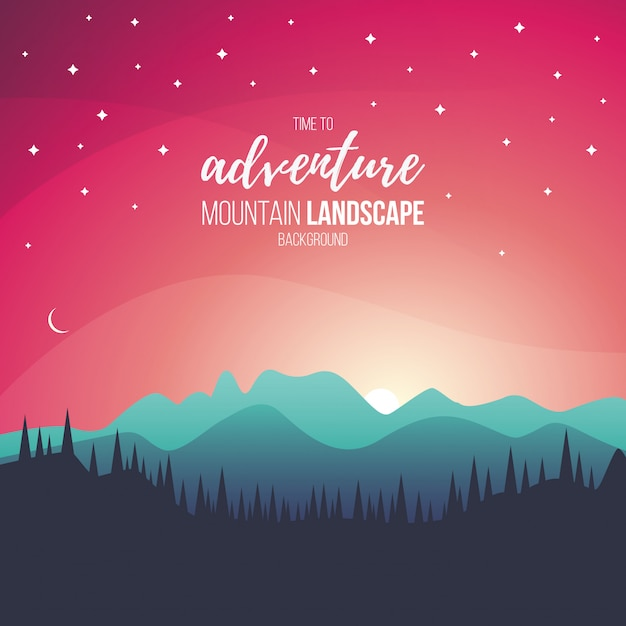 Beautifull sunset landscape Free Vector