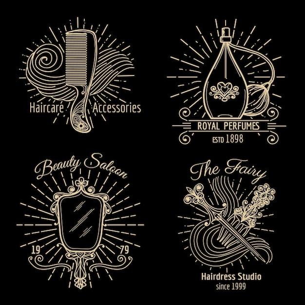 美容とケアのロゴベクトルセット。ケアビューティー、ロゴスパ、ファッションラベル、ヘアドレス、ヘアケアのロゴイラスト Premiumベクター