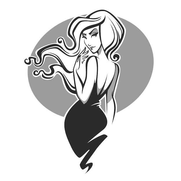 Красота и гламурный образ женщины с густыми волосами Premium векторы