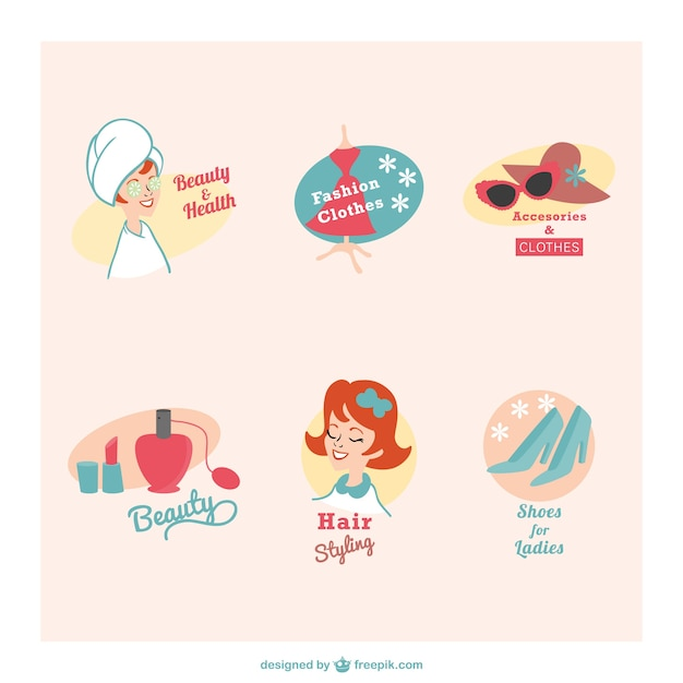 Beauty and health retro emblems