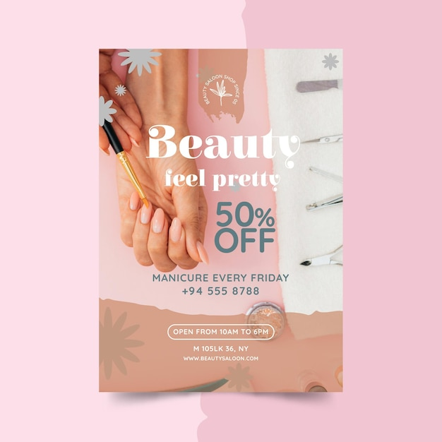 아름다움과 건강한 살롱 포스터 무료 벡터