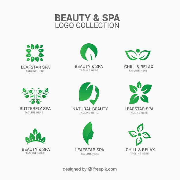 Beauty and spa logo collection Free Vector