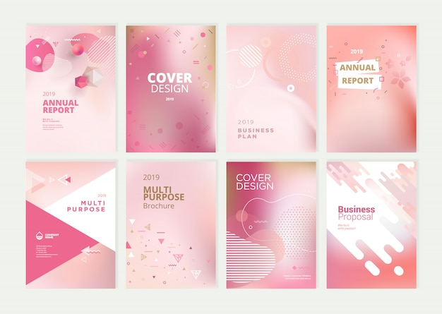 Beauty annual report cover template design set Premium Vector