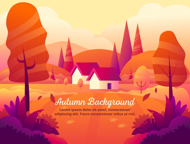 The beauty of autumn orange background vector illustration Premium Vector