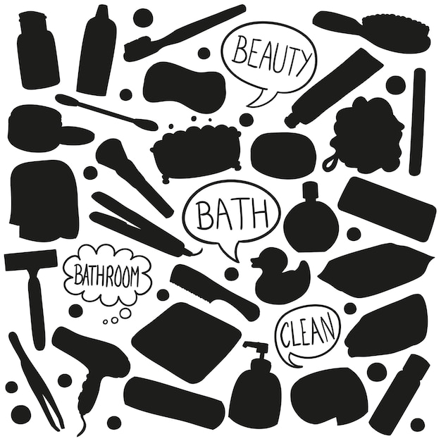 Beauty bath silhouette vector clip art Premium Vector