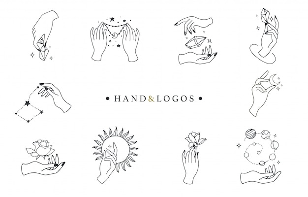 Beauty boho collection with hand, rose, crystal, sun, moon, star. Premium Vector
