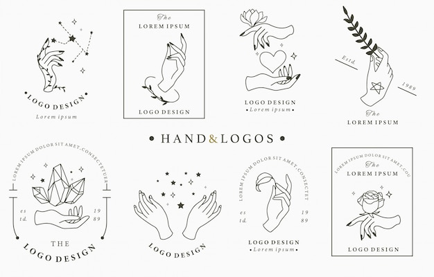 Beauty boho logo collection with hand, rose, crystal, heart, star. Premium Vector
