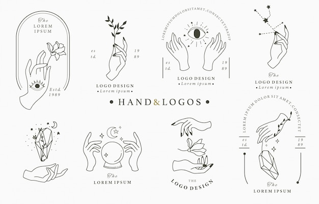 Beauty boho logo collection with hand Premium Vector