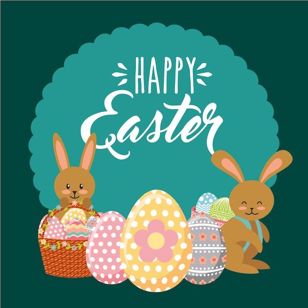 Красочные кролики с декоративными корзинами яйцо счастливые пасхальные этикетки орнамент Premium векторы